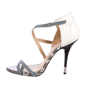 L.A.M.B.    Snakeskin Leather Ankle-Strap Sandals